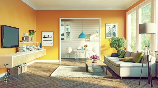 sala com móveis fixados em parede de drywall